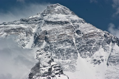 everest: mount everest with snow covered in summer