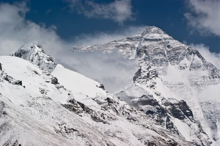 mountain pass: mount everest with snow covered in summer