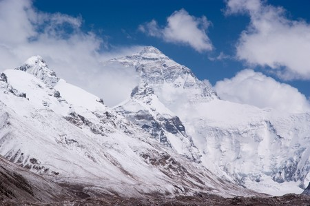 mount everest with snow covered in summer photo