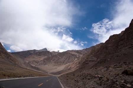 yellowish mountain road view in tibet of China photo