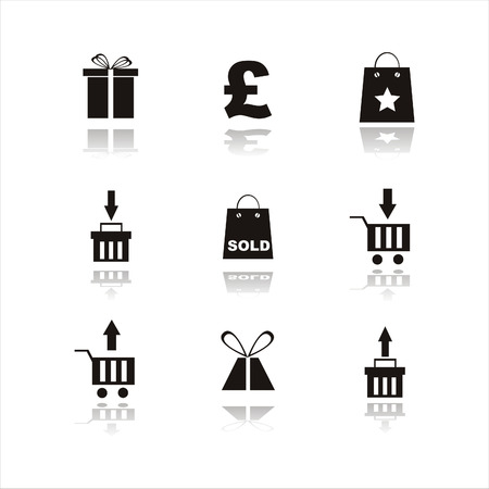 set of 9 shopping black icon Stock Vector - 7538099