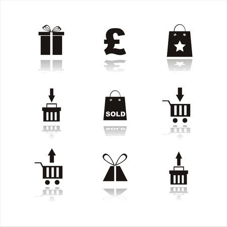 set of 9 shopping black icon Vector