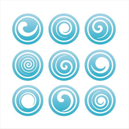 blue swirl: set of 9 blue swirl signs Illustration