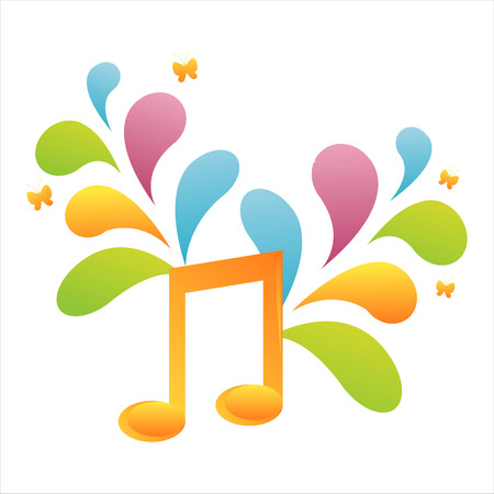 colorful musical note background Illustration