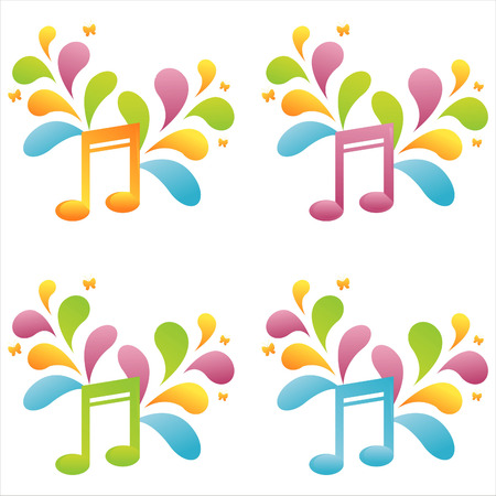 set of 4 colorful musical notes Stock Vector - 7538264