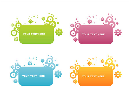 set of 4 colorful floral frames Vector