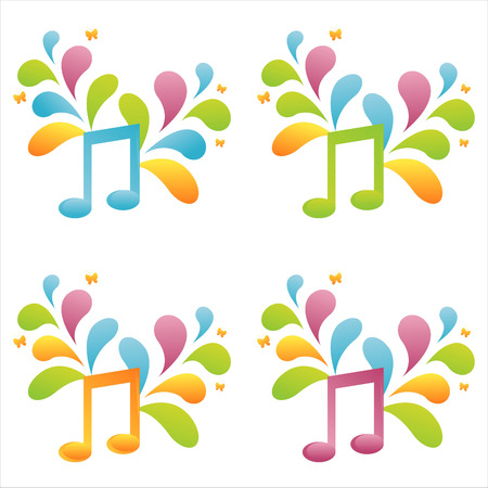 set of 4 colorful musical notes Stock Vector - 7538306