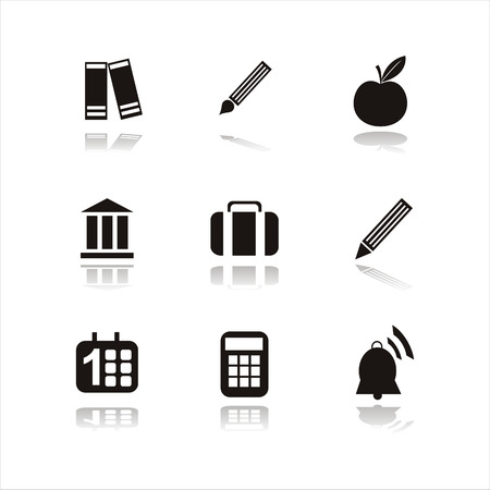 school icons: set of 9 black school icons