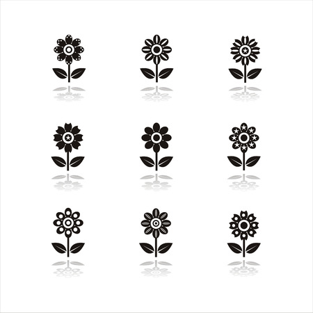 set of 9 black flower icons Vector