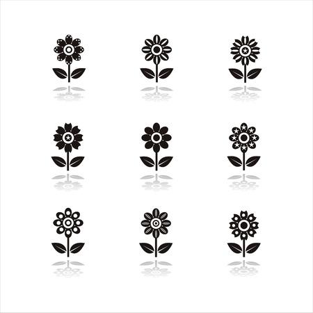 set of 9 black flower icons Vector