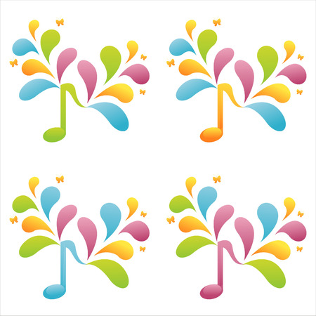set of 4 colorful musical notes Stock Vector - 7538380