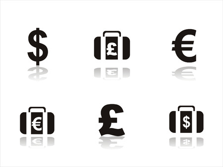 euro teken: set van 6 zwarte Financiën pictogrammen Stock Illustratie