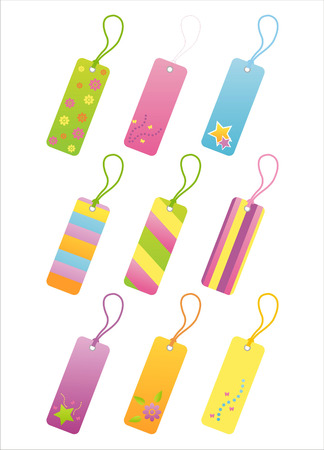 set of 9 colorful tags Vector