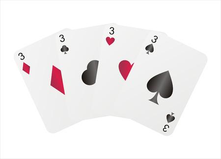 four threes isolated on white