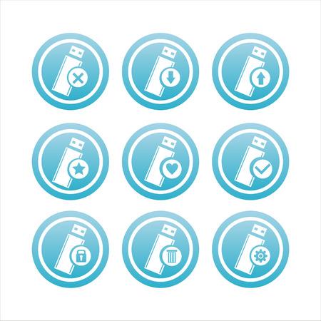flash memory: set of 9 blue flash memory signs