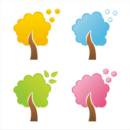 set of 4 seasonal tree icons Vector