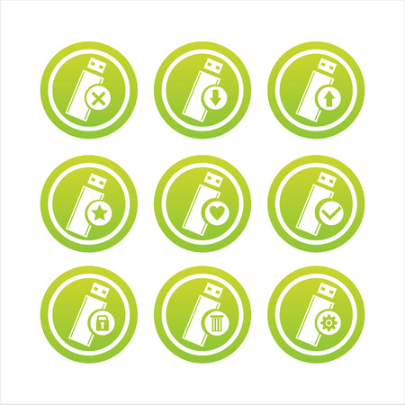 flash memory: set of 9 green flash memory signs Illustration