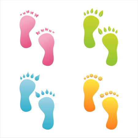 set of 4 ecological foot steps Stock Vector - 7538700