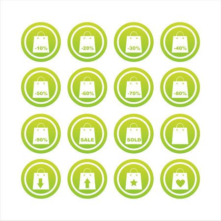 set of 16 shopping bags signs Stock Vector - 7571989
