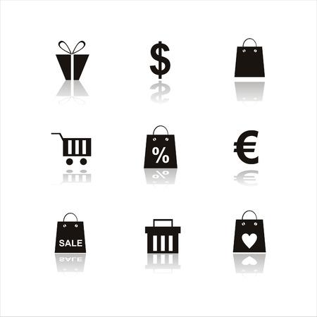 shopping bag icon: Satz von 9 shopping-Symbole  Illustration