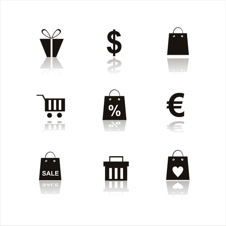 shopping bag icon: set of 9 shopping icons Illustration