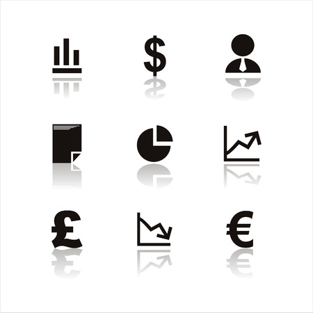 set of 9 black finance icons Vector