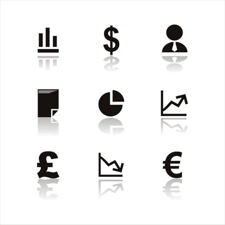euro teken: set van 9 zwarte Financiën pictogrammen