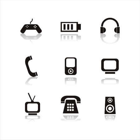 set of 9 black technology icons Vector