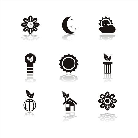 sol y luna: conjunto de iconos de naturaleza negro 9  Vectores