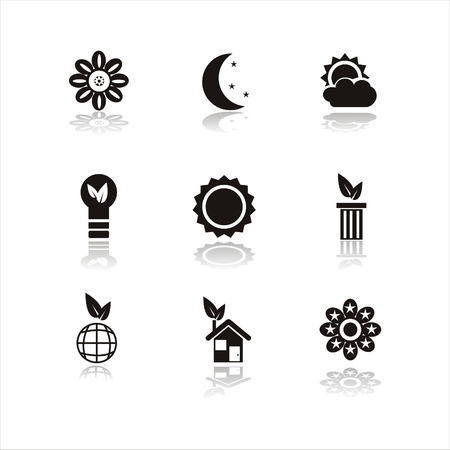 moon and stars: set of 9 black nature icons