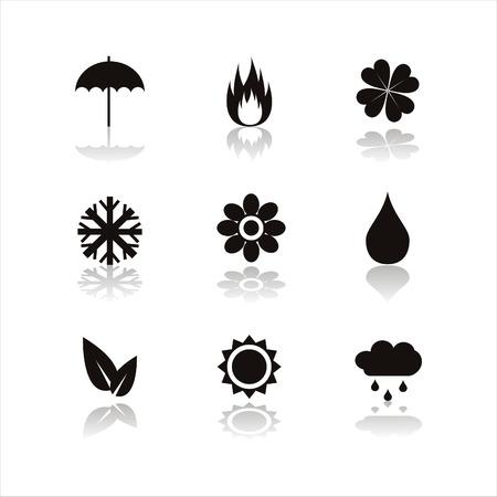 sonnenschirm: Satz von 9 schwarze Natur-Symbole  Illustration