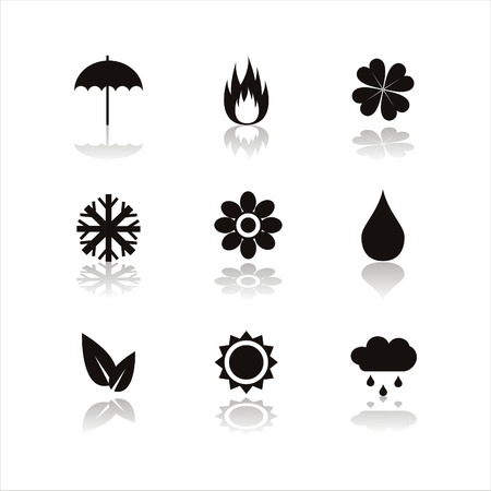 guarda sol: set of 9 black nature icons