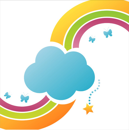 colorful cloud background with rainbow Stock Vector - 7571085