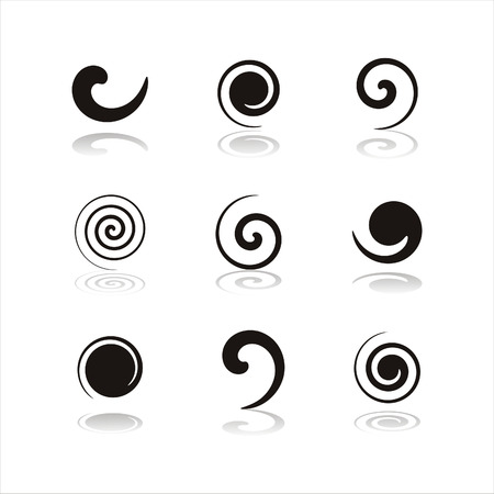 set of 9 black swirl icons