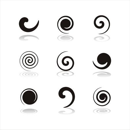 set of 9 black swirl icons