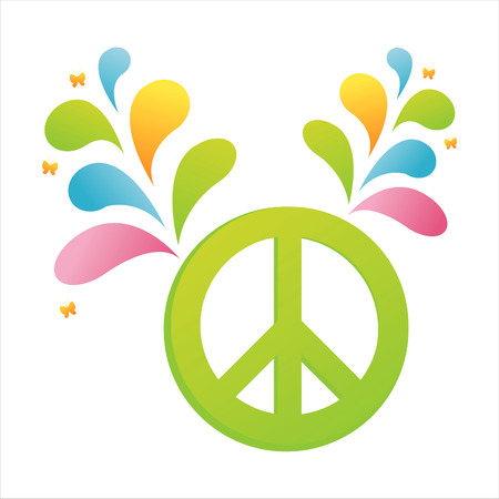 peace sign: peace with colorful splash