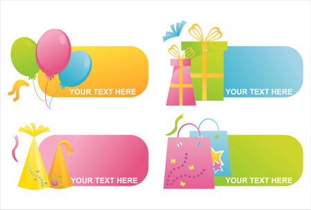 set of 4 birthday banners Stock Vector - 7643685