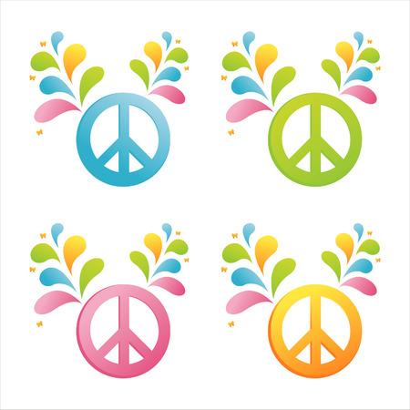 symbol of peace: set of 4 colorful peace