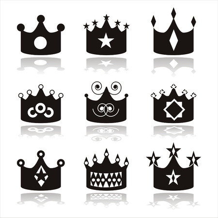 set of 9 black crown icons Vector