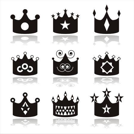 set of 9 black crown icons