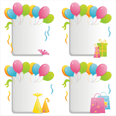 set of 4 birthday frames Vector