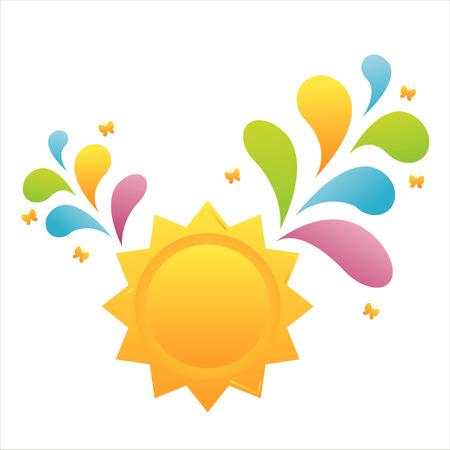 sun with colorful splash Vector