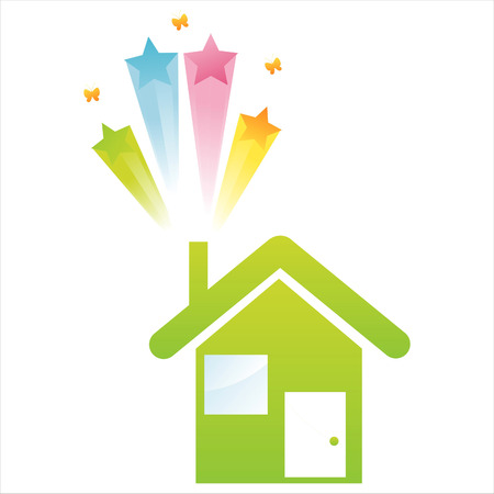 green house with star splash Vector