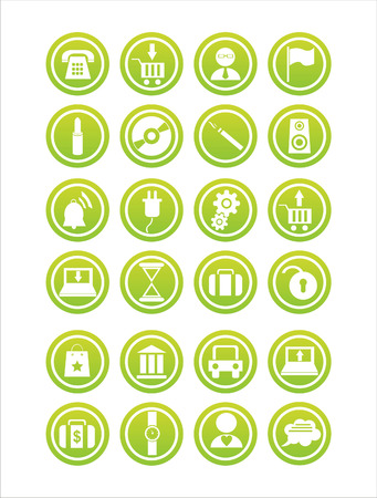 set of 21 web green signs Vector