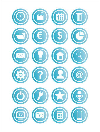 set of 21 web blue signs Stock Vector - 7726062