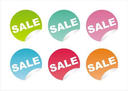 set of 6 colorful sale stickers Stock Vector - 7726254
