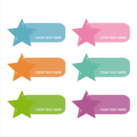 set of 6 colorful stars frames Vector
