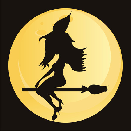 witch over moon Vector