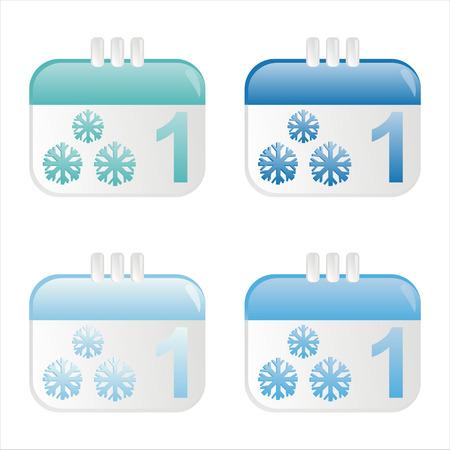 january 1st: set of 4 winter calendar icons Illustration