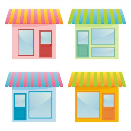 glass doors: set of 4 colorful markets Illustration